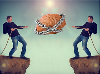 a middle aged man in a tug-of-war with himself over his brain