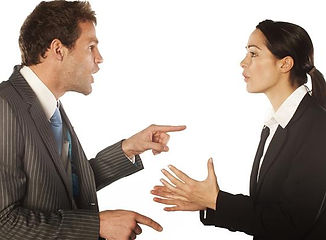 business man arguing with busiess woman