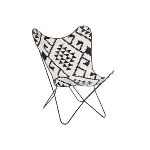 Fauteuil butterfly en jute aux motifs blanc et noir