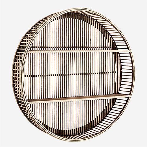 Étagère ronde en bambou, rotin et bois à suspendre