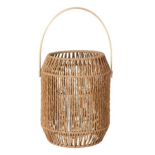 Lanterne en fibres naturelles avec anse en bambou