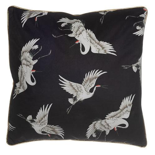 Coussin cigognes hérons noir 45x45 cm