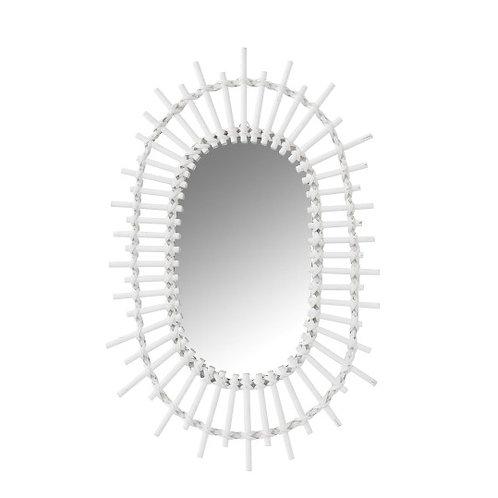 Miroir ovale soleil en bambou blanc