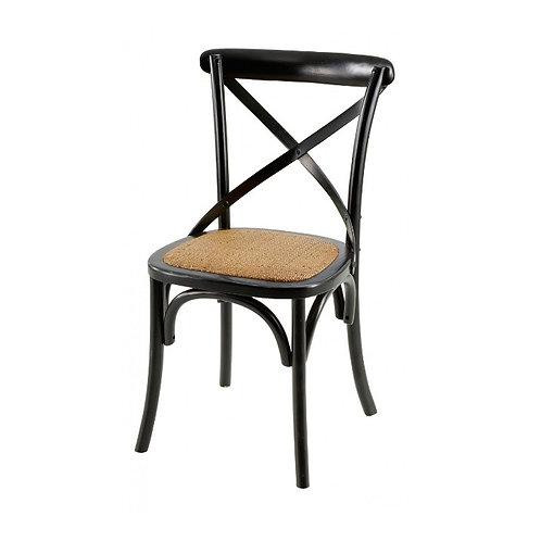 Chaise bistrot noir mat en bois et cannage