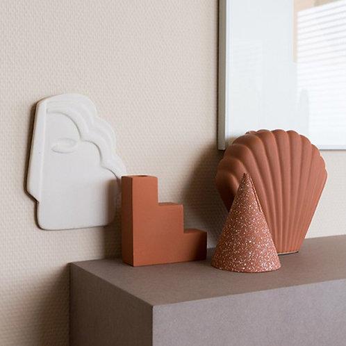 Vase coquillage en grès mat terracotta