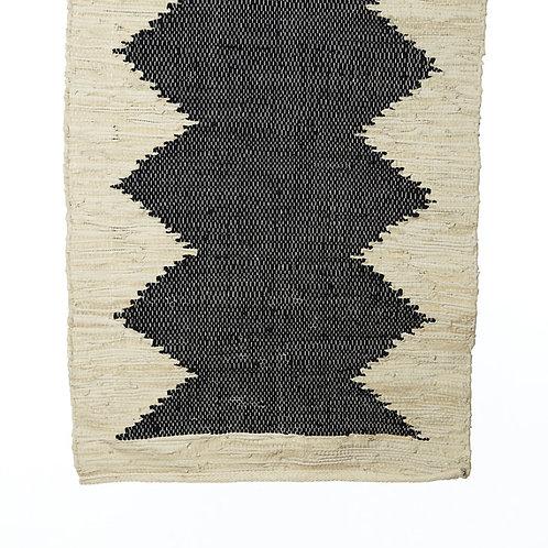 Tapis en coton et cuir au motif central noir - 2 tailles