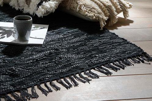 Tapis en cuir recyclé noir 80x120 cm