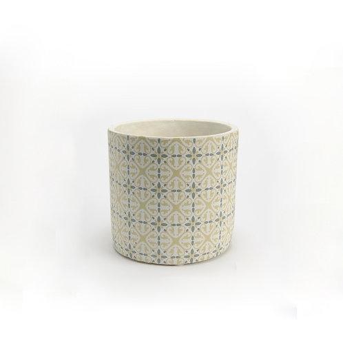 Gros pot aux motifs carreaux de ciment