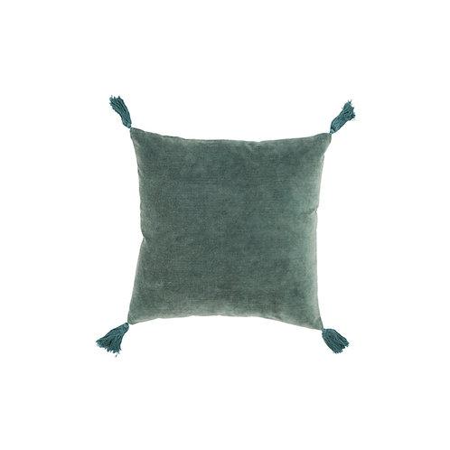Coussin à pompons velours vert / bleu 45x45 cm