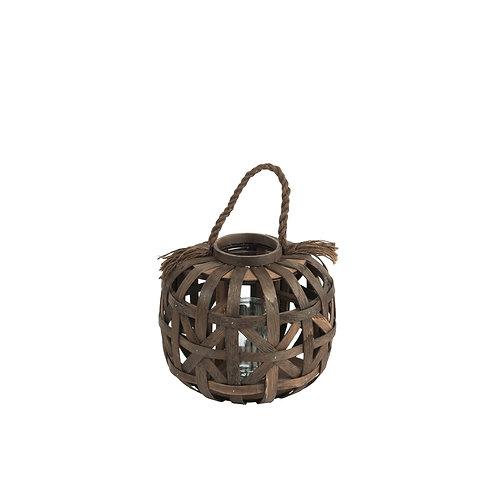 Petite lanterne ronde en rotin avec socle en verre