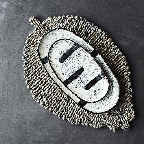 Plat de présentation en grès à motifs rayures - 2 dimensions