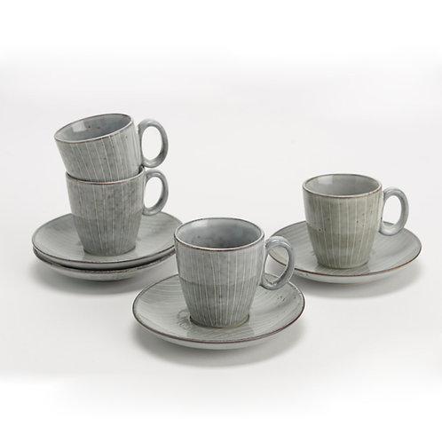 Set de 4 tasses et sous tasses à café artisanales grises