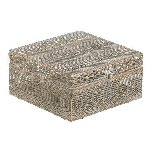 Boîte coffret carré en métal doré vieilli avec miroir