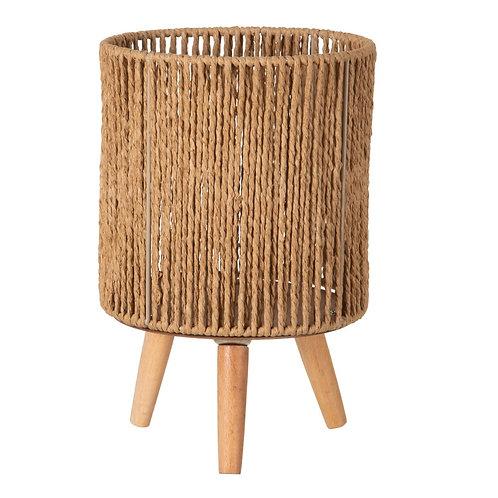 Photophore en fibres naturelles sur pieds en bois