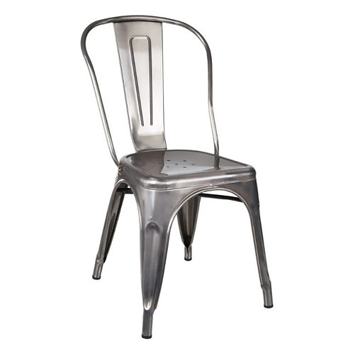 Chaise industrielle bistrot métal gris vieilli