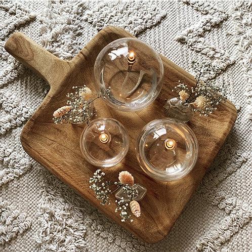 Bougie à huile en verre soufflé Periglass forme ronde argent - 3 tailles