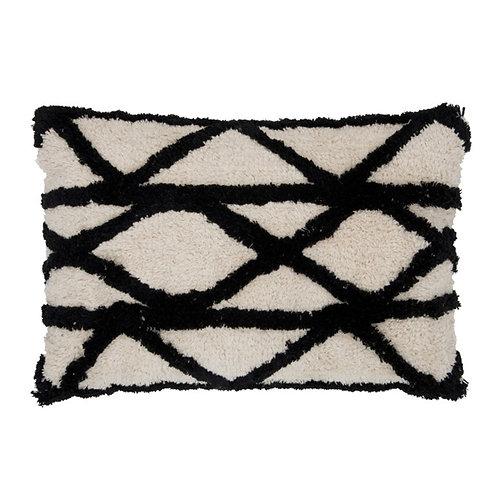 Coussin bohème berbère 100% coton écru et noir 40x60 cm