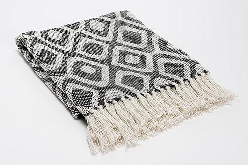 Plaid bicolore gris 100% coton à motifs 130x170 cm