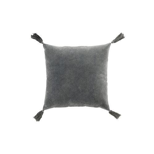 Coussin à pompons velours gris 45x45 cm