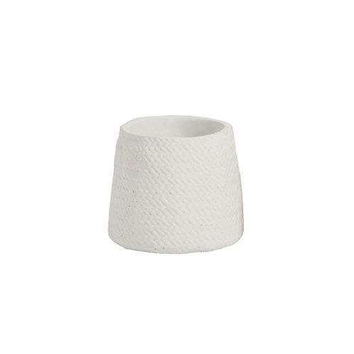 Cache-pot en céramique blanc effet tressé