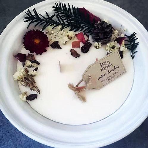 Bougie écologique parfumée sous-bois fleurs séchées pot en terre 500 ml