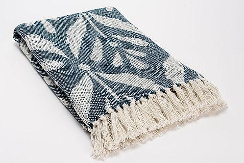 Plaid bicolore bleu canard 100% coton à motifs 130x170 cm