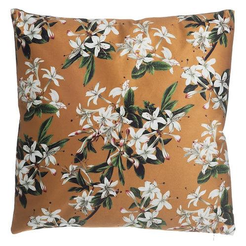 Coussin à fleurs moutarde 45x45 cm