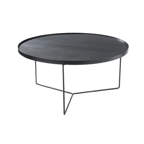 Grande table basse ronde en bois et métal noir