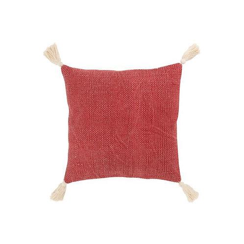 Coussin à pompons coton lin orangé 45x45 cm