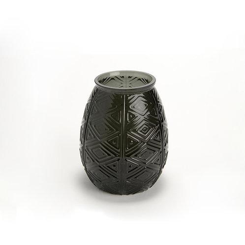 Vase boule noir en verre aux motifs gravés