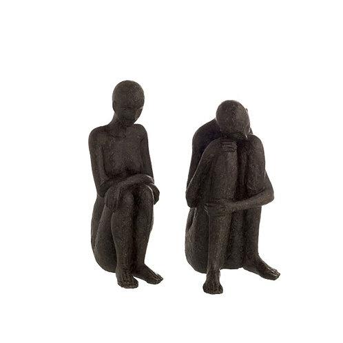 Ensemble de deux sculptures statues personnages assis en résine noire
