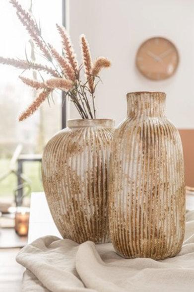Vase en céramique rainée ocre effet vieilli