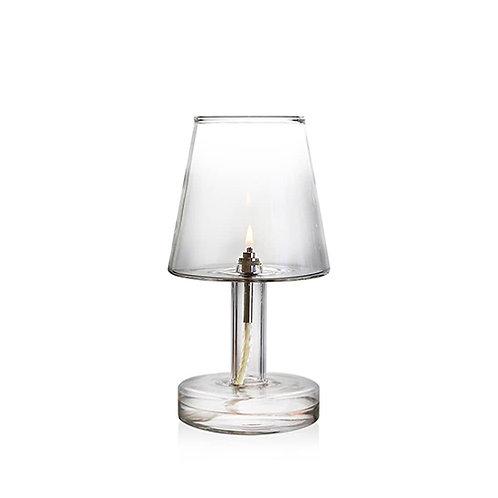Lampe à huile en verre soufflé Periglass chromé