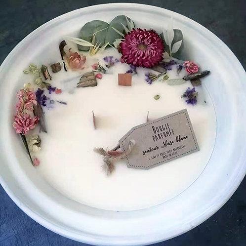 Bougie écologique parfumée musc blanc fleurs séchées pot en terre 500 ml