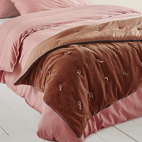 Édredon lit ou canapé moelleux en velours cuivre rouille 85 x 190 cm