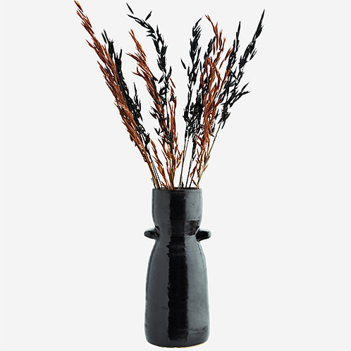 Vase noir géométrique en grès