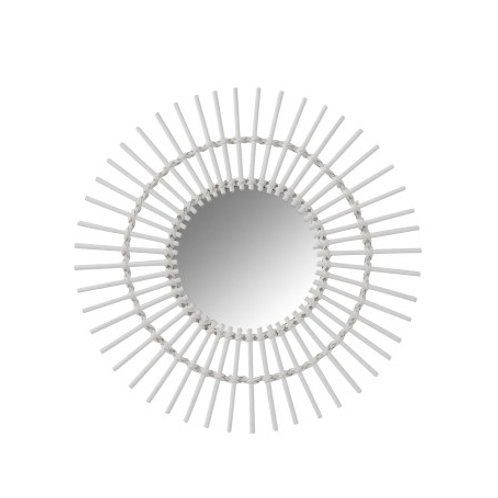 Miroir rond soleil en bambou blanc