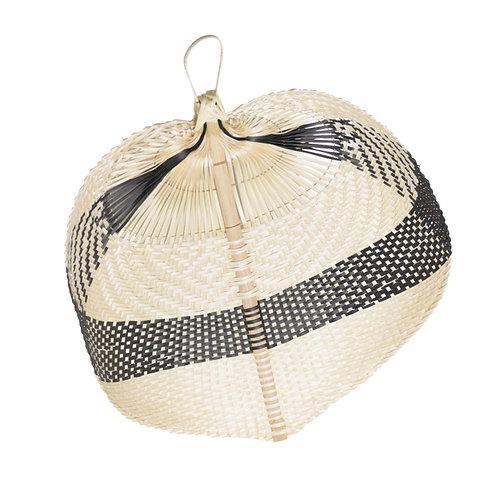 Éventail feuille paï paï en bambou noir et beige taille L