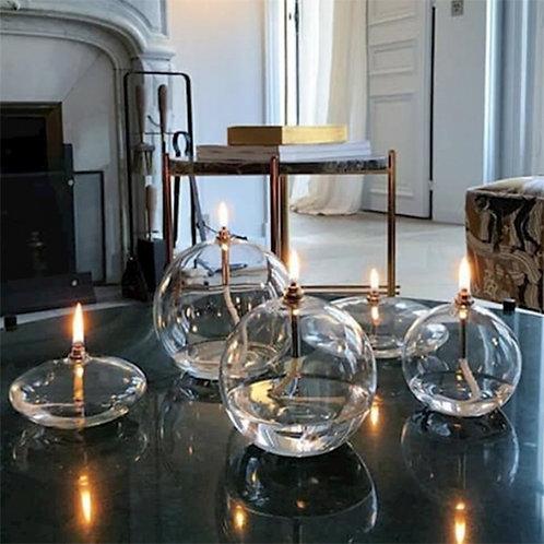 Bougie à huile en verre soufflé Periglass forme galet laiton - 3 taille