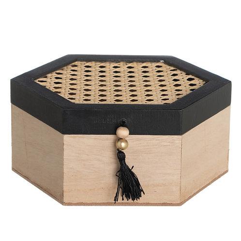 Boîte coffret hexagonal en bois et cannage