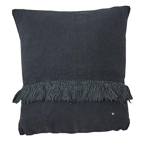 Coussin 100% lin uni charbon 35x35 cm à franges