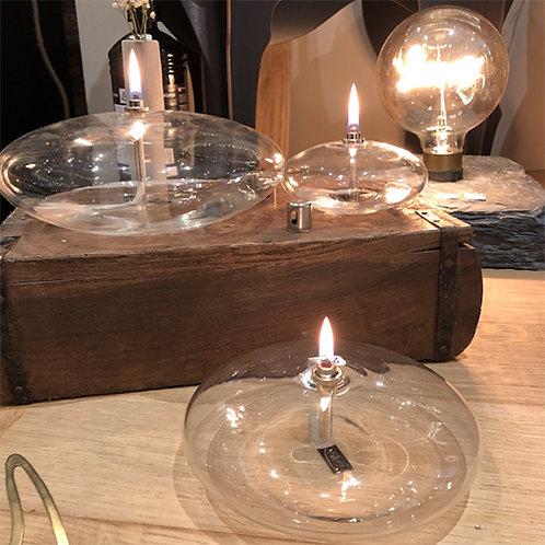 Bougie à huile en verre soufflé Periglass forme galet argent - 3 tailles