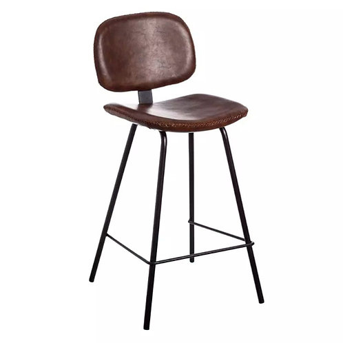 Tabouret de bar marron en simili cuir