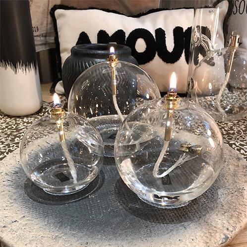 Bougie à huile en verre soufflé Periglass forme ronde laiton - 3 tailles