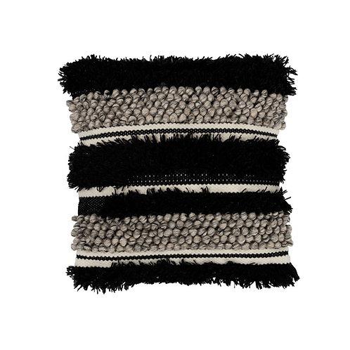Coussin bohème berbère blanc et noir en laine 45x45 cm