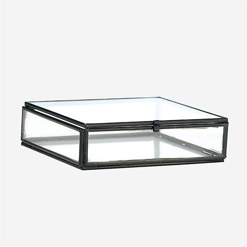 Boîte coffret à bijoux carré en verre et métal noir