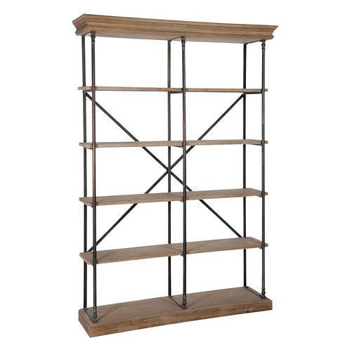 Étagère / bibliothèque en métal et en bois naturel