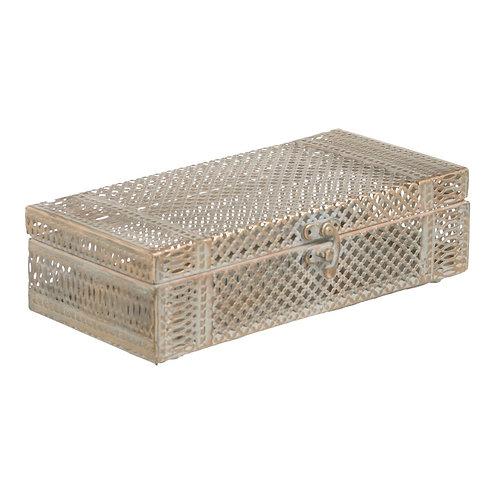 Boîte coffret rectangulaire en métal doré vieilli avec miroir