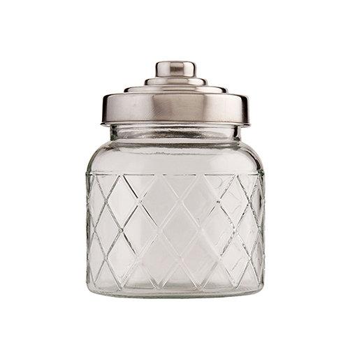 Bocal rond M en verre avec couvercle inox et motifs losanges