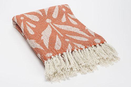 Plaid bicolore corail 100% coton à motifs 130x170 cm